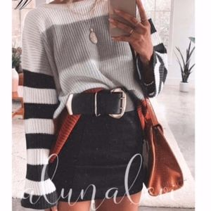 Sweaters - MARLA Color Block Knit Sweater - GREY MIX